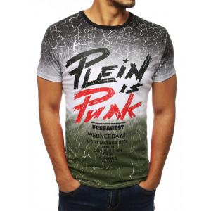 Trendy zelené pánske tričko v trojfarebnej kombinácii