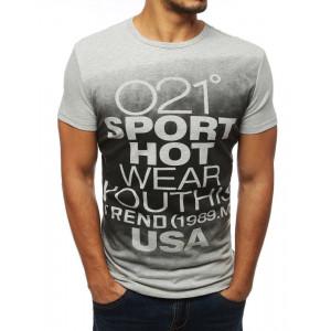 Pohodlné sivé športové tričko s krátkym rukávom