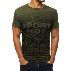 Zelené športové tričko s krátkym rukávom a okrúhlym výstrihom