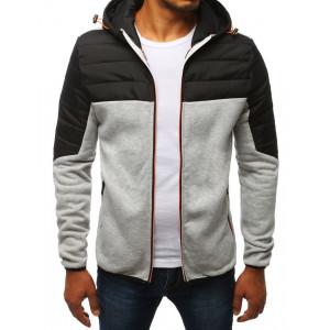 Štýlová pánska sivá prechodná bunda na zips