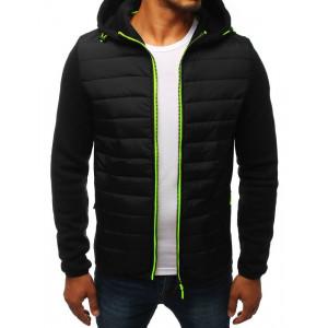 Čierna pánska prechodná bunda s kapucňou a rukávmi z úpletu