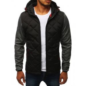 Čierna prešivaná pánska bunda s kontrastnými rukávmi