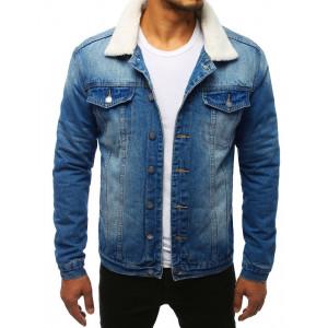 Originálna pánska modrá rifľová bunda oteplená kožušinou