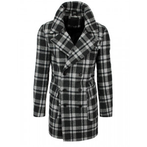 Štýlový pánsky sivo čierny dlhý károvaný kabát