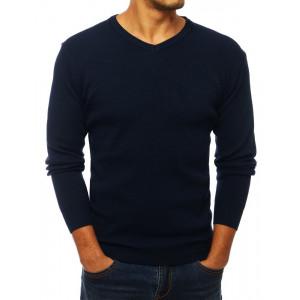 Pohodlný pánsky modrý sveter s výstrihom do V