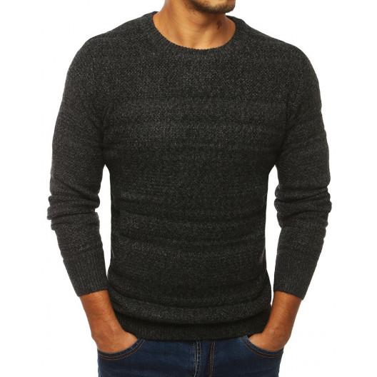 Kvalitný tmavo sivý pánsky sveter klasického designu