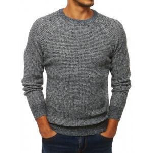 Jednofarebný pánsky sivý sveter s okrúhlym výstrihom