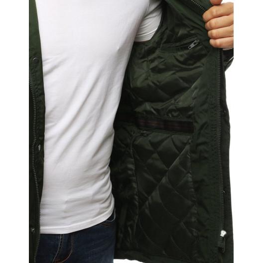 Zelená pánska prechodná bunda v štýle parka s kapucňou