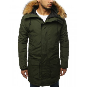Pánska khaki zimná parka bunda s kapucňou