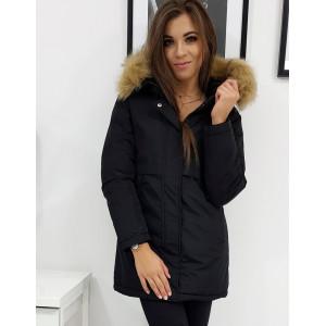 Štýlová čierno dámska bunda na zimu s kožušinou