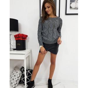 Krátky dámsky pletený sveter tmavo sivej farby