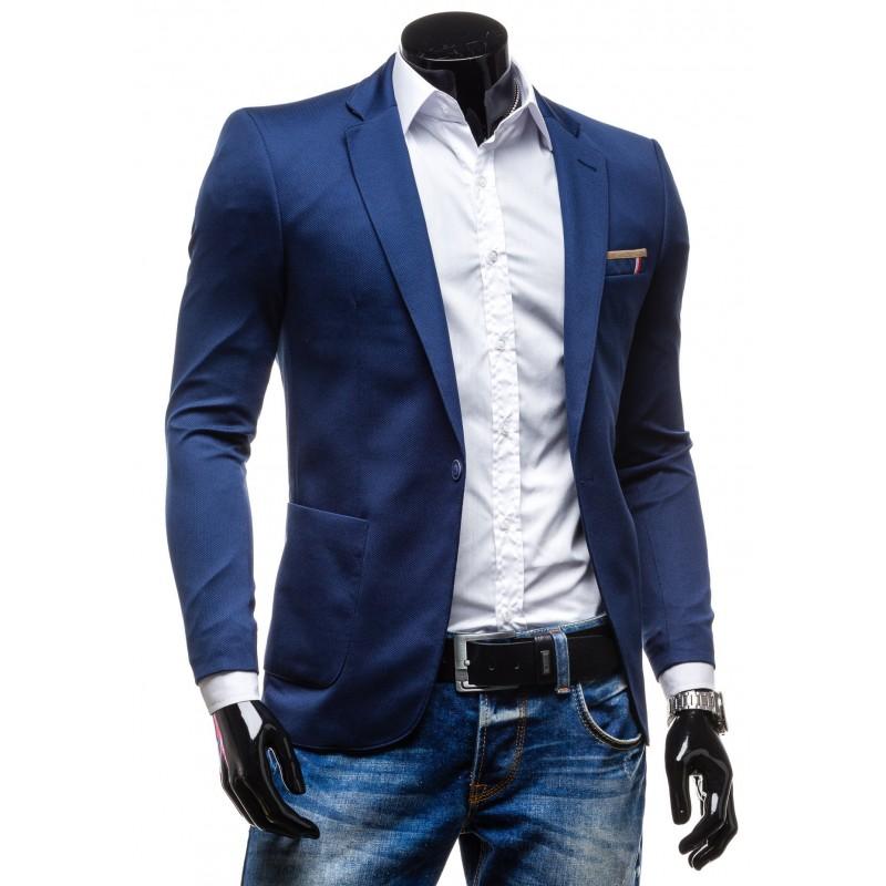 ccc9e0a64cfd4 Modré pánske sako - fashionday.eu