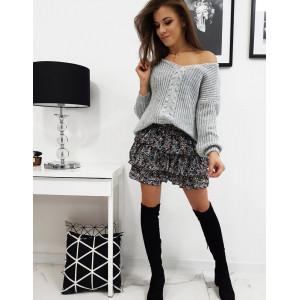 Dámsky pletený sivý sveter so stredovým osmičkovým vzorom