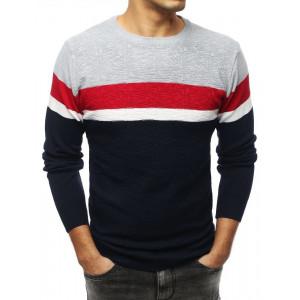 Štýlový pánsky modrý sveter v trojfarebnej kombinácii