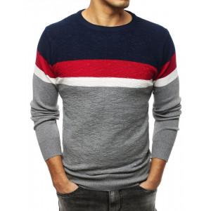 Moderný pánsky sivý sveter s farebnými pruhmi