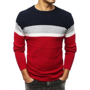 Štýlový pánsky bordový sveter s farebnými pruhmi