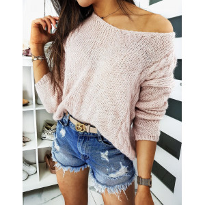 Ružový dámsky sveter s voľne padajúcim výstrihom do V