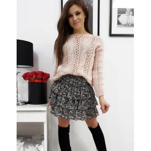 Romantický dámsky ružový pletený sveter oversize
