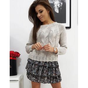 Pletený dámsky béžový pletený sveter s módnom designe