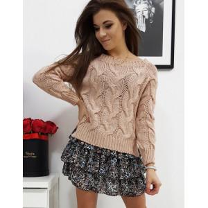 Ružový dámsky pletený sveter s osmičkovým vzorom
