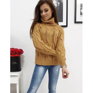 Karamelovo hnedý dámsky sveter s vysokým rolákom