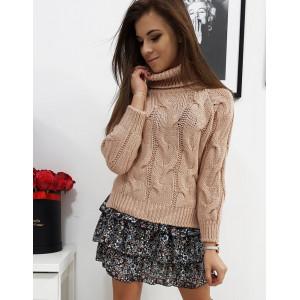 Ružový dámsky pletený sveter s rolákom krátkeho strihu