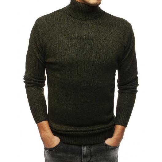 Štýlový pánsky zelený hrubý sveter s vysokým golierom