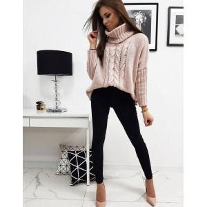 Dámsky ružový pletený sveter s odnímateľným rolákom