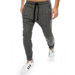 Športové pánske jogger nohavice sivo čierne