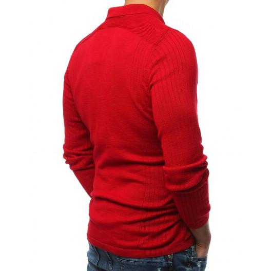Moderný pánsky červený polo sveter s golierom a gombíkmi