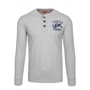 Sivé pánske tričko s dlhým rukávom