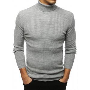 Štýlový pánsky sivý sveter cez hlavu s golierom