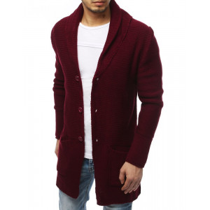 Moderný pánsky bordový dlhý sveter na gombíky