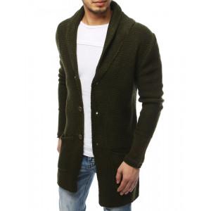 Originálny pánsky zelený dlhý sveter na gombíky