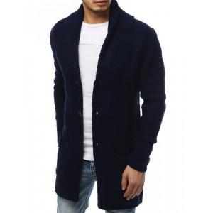 Štýlový pánsky modrý dlhý sveter so zapínaním na gombíky