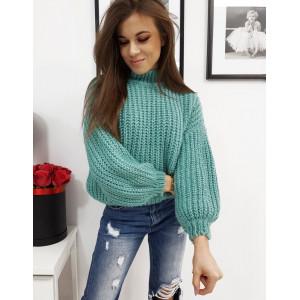 Pletený dámsky zelený sveter s rozšírenými rukávmi