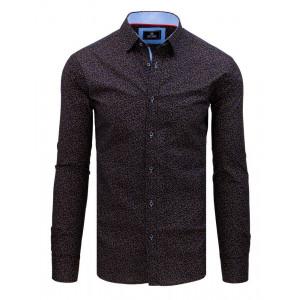 Moderná pánska modro hnedá vzorovaná slim fit košeľa