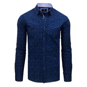 Modrá pánska košeľa s dlhým rukávom so vzorom kvetov