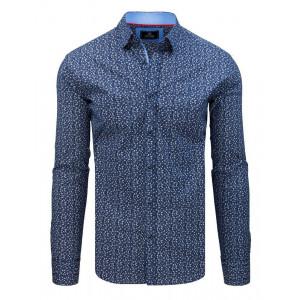 Slim fit pánska modrá vzorovaná košeľa
