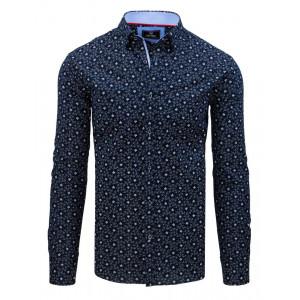 Štýlová pánska modrá košeľa s jemným barakovým vzorom