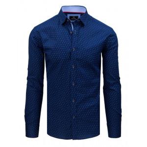 Elegantná pánska modrá košeľa slim fit s dlhým rukávom