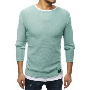 Trendy pánsky jarný sveter v pastelovo zelenej farbe
