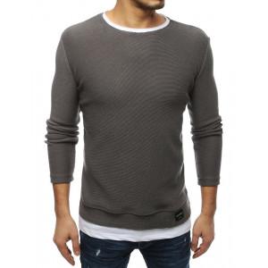 Štylový pánsky sivý sveter s imitáciou vsadeného trička
