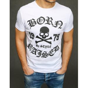Štýlové pánske tričko s čiernou potlačou lebky