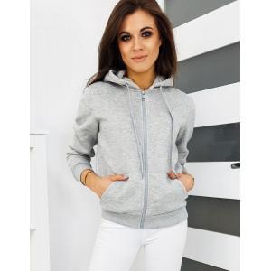 Trendy dámska tepláková sivá mikina s kapucňou a na zips