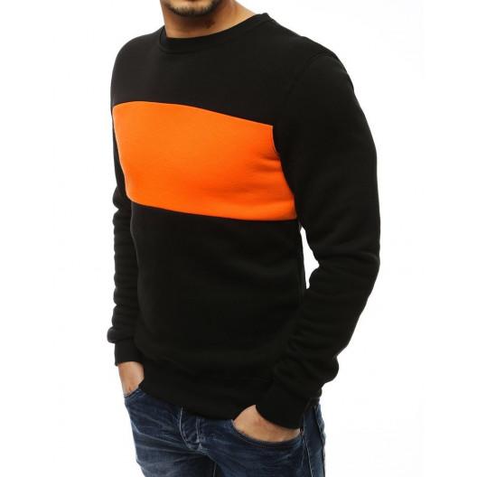 Pánska čierna mikina s výrazným oranžovým pásom