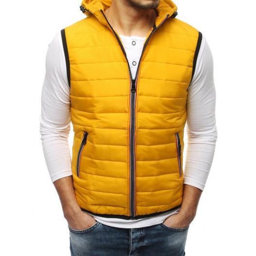 Krásna žltá pánska prechodná bunda bez rukávov s kapucňou