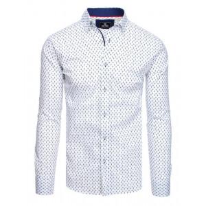 Biela pánska košeľa s dlhým rukávom s modrým vzorom