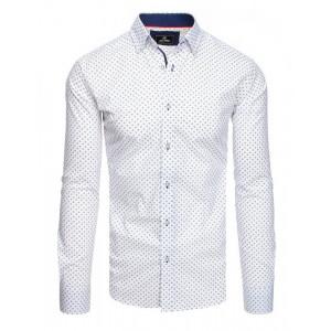 Elegantná pánska biela slim fit košeľa so vzorom