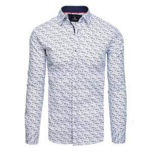 Trendy pánska slim fit košeľa s modrým vzorom